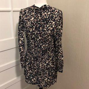 Floral Long Sleeve LOFT Button Up Romper